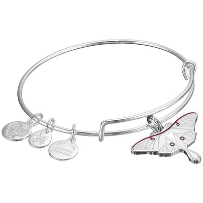 Women's Alex and Ani 'Luna' Expandable Moth Charm Bracelet - Silver