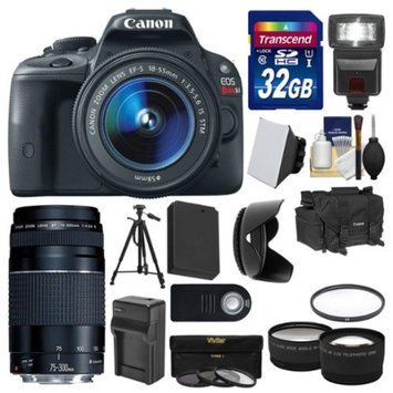 Canon EOS Rebel SL1 Digital SLR Camera & EF-S 18-55mm IS STM with 75-300mm III Lens + 32GB Card + Case + Flash + Battery/Charger + Tripod + 2 Lens Kit