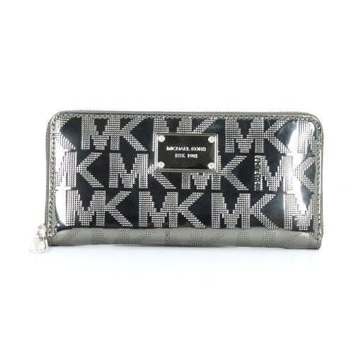 Michael Kors Signature Mirror Metallic Zip Around Continental Wallet [Nickel, One size]