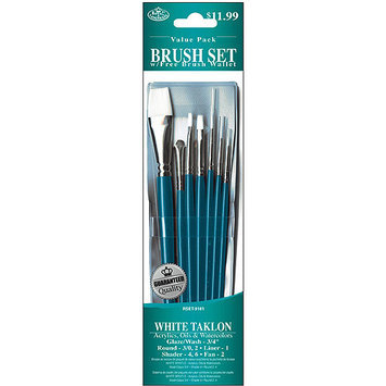 Royal Brush Brush Set Value Pack, White Taklon, 7-Pack, Glaze/Wash/Round/Liner/Shader/Fan
