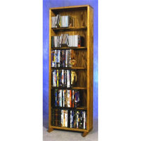 Wood Shed 18.25 in. 6 Row Dowel DVD Tower (Honey Oak)