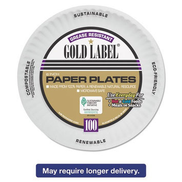 Ajm Packaging Ajm AJM CP6OAWH Coated Paper Plate Gold Label 6 in.