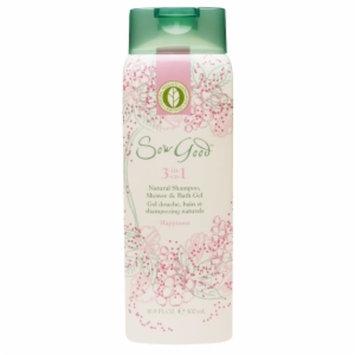 Sow Good 3 in 1 Natural Shampoo, Shower & Bath Gel, Happiness, 16.9 fl oz.
