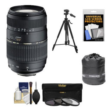 Tamron 70-300mm f/4-5.6 Di LD Macro 1:2 Zoom Lens with 3 UV/CPL/ND8 Filters + Lens Pouch + Tripod + Accessory Kit for Sony Alpha DSLR SLT-A37, A57, A58, A65, A77, A99 Digital SLR Cameras