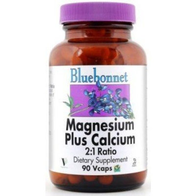 BlueBonnet Magnesium Calcium 2:1 Ratio Vegetarian Capsules, 90 Count