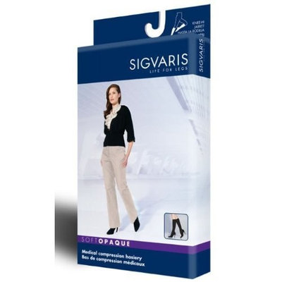 Sigvaris Soft Opaque 15-20 mmHg Closed Toe Knee High Sock Size: Medium Short (MS), Color: Midnight Blue 09
