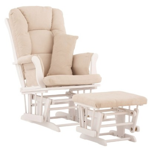 Stork Craft Custom Tuscany Glider and Ottoman w/FREE Lumbar Pillow - White Beige