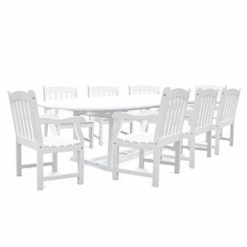 VIFAH Bradley Extension Oval Table & 8 Armchair Outdoor Wood Dining Set, 1 ea