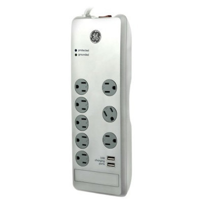 GE 8 Out.Surge 2100J 4' Cord 2 USB