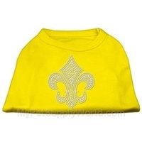 Ahi Silver Fleur de Lis Rhinestone Shirts Yellow XS (8)