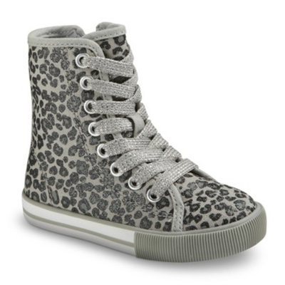 Toddler Girl's Circo Daesha High Top Leopard Print Sneakers - Grey 12