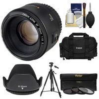 Canon EF 50mm f/1.8 II Lens with Canon Case + 3 UV/CPL/ND8 Filters + Hood + Tripod Kit for EOS 6D, 70D, 5D Mark II III, Rebel T3, T3i, T4i, T5, T5i, SL1 DSLR Camera