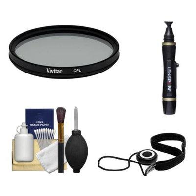 Vivitar 82mm Circular Polarizer Glass Filter + LensPen + CapKeeper + Lens Cleaning Kit for Canon, Nikon, Sony, Olympus & Pentax Lenses