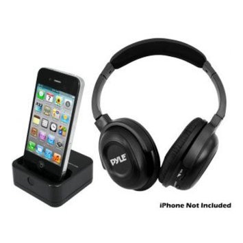 Pyle UHF Wireless Headphones with iPhone/iPod Dock Transmitter and Aux Input