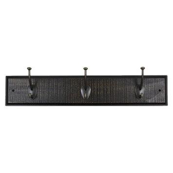Sumner Street Home Hardware 3 Hook Rustic Modern Rail - Ebony/Brass