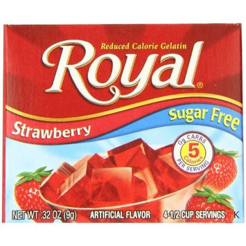 Royal Gelatin, Sugar Free, Strawberry, 0.32-Ounce (Pack of 12)