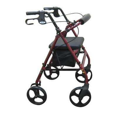 Drive Medical Rollator with Fold Up and Removable Back Support - Red