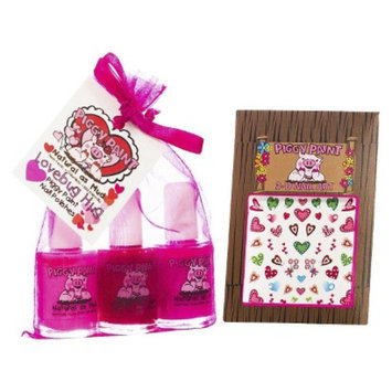 Rockhouse Industries, Inc Piggy Paint Lovebug Hug Non-Toxic Nail Polish with Heart Nail Art Set