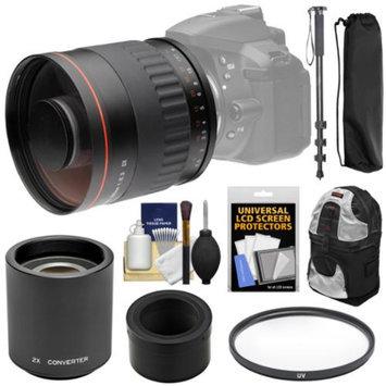 Vivitar 500mm f/6.3 Mirror Lens with 2x Teleconverter (=1000mm) + Monopod + Backpack + Filter Kit for Nikon 1 J2, J3, J4, S1, V2, V3 Digital Camera