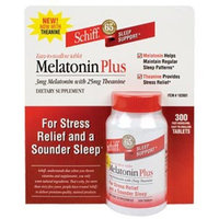 Schiff Melatonin Plus 3 mg Melatonin with 25 mg Theanine - For Stress Relief 300 Tablets