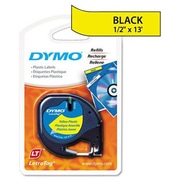"Dymo DYMO Letratag Tape Cartridge, 1/2""x13', Hyper Yellow"