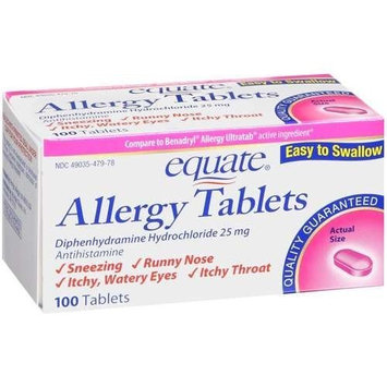 Equate Allergy Relief Diphenhydramine HCl 25 Mg 100 Tablets Compare to Benadryl Allergy Ultratab