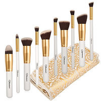 Soobest Professional Beauty Cruelty Free Kabuki Synthetic Makeup Brushes Set Cosmetics Makeup Brushes Kit with Carry Bag (Golden White)