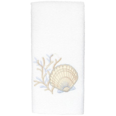 Avanti Seashell Washcloth-One Size, WHITE