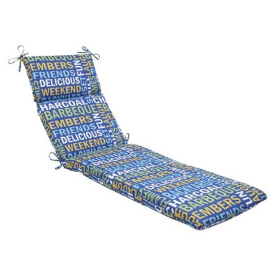 Pillow Perfect Outdoor Chaise Lounge Cushion - Blue/Yellow Grillin