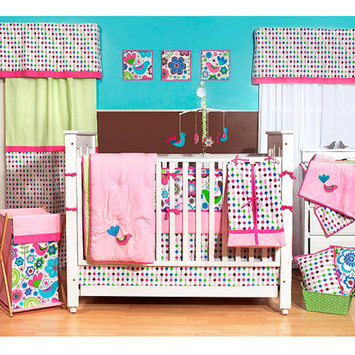 Bacati Botanical 10-Piece Nursery-in-a-Bag Crib Bedding Set, Pink
