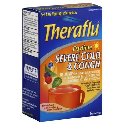 Theraflu Severe Cold & Cough, Daytime, Berry Infused with Menthol & Green Tea Flavors, 6 ct.