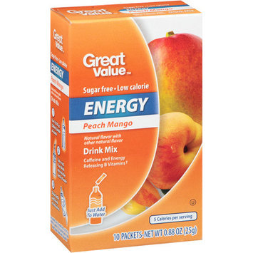 Great Value Peach Mango Energy Drink Mix, .88 oz, 10ct