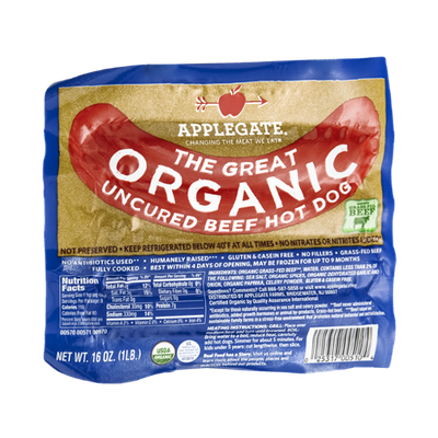 Applegate Beef Hot Dog Uncured Organic