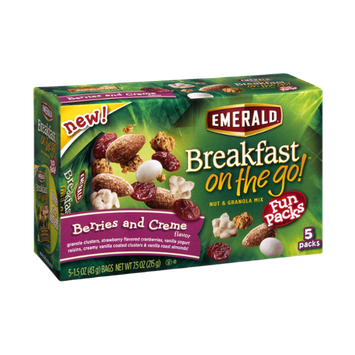 Emerald Breakfast On The Go Berries and Creme Nut & Granola Mix Fun Packs - 5 CT