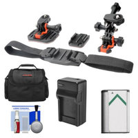Vivitar Essentials Bundle for Sony Action Cam HDR-AS30V, AS15 & AS100V Camcorders with Helmet & Flat Surface Mounts + Battery + Charger + Case + Accessory Kit
