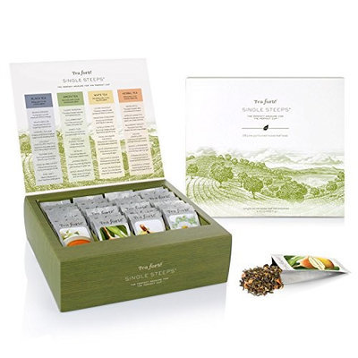 Tea Forte Single Steeps Loose Leaf TEA CHEST, 28 Different Single Serve Pouches - Black Tea, Green Tea, White Tea, Herbal Tea