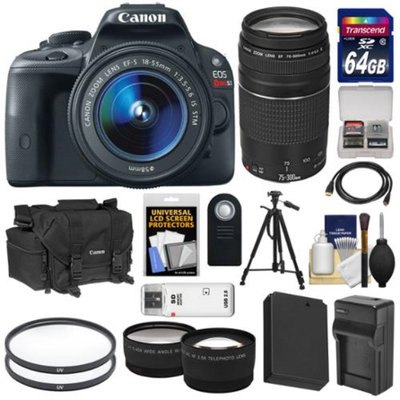 Canon EOS Rebel SL1 Digital SLR Camera & EF-S 18-55mm IS STM Lens with EF 75-300mm III Zoom Lens + 64GB Card + Battery + Case + Tele/Wide Lenses + Tripod Kit