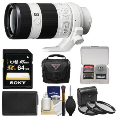 Sony Alpha E-Mount FE 70-200mm f/4.0 G OSS Zoom Lens with 64GB Card + Case + Battery + 3 Filters Kit for Sony Alpha A7, A7R, A7S, A3000, A5000, A6000, NEX-5T, 6, 7 Cameras