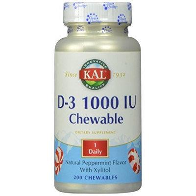 KAL D-3 1000 IU Chewable Tablets, Peppermint, 200 Count