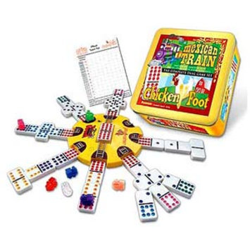 Mexican Train and Chickenfoot Dominoes - The Complete Dual Game Set in a Tin Ages 6+, 1 ea