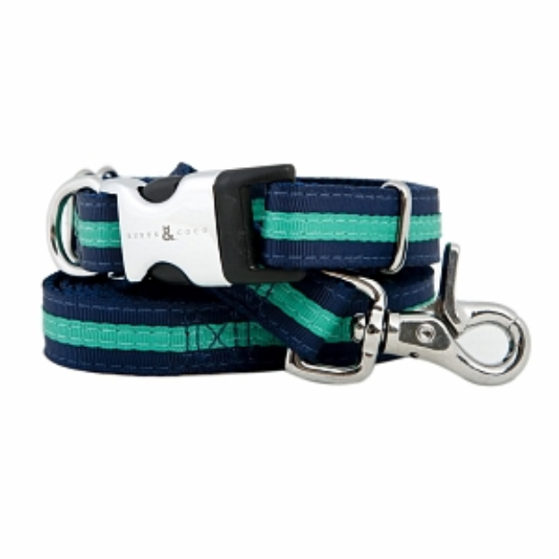 Rufus & Coco Bronte-Stylish Striped Nylon Collar, Navy and Green, Small-Medium, 1 ea