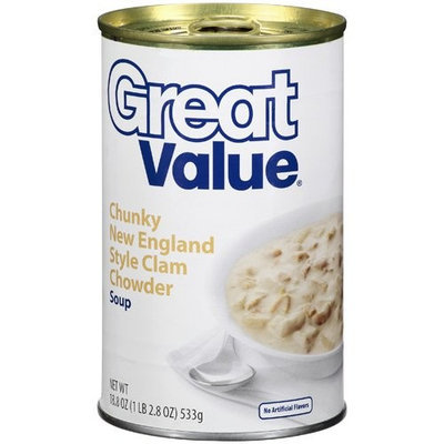 Great Value Chunky New England Style Clam Chowder Soup, 18.8 oz