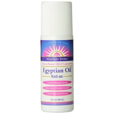 Heritage Store Skin Care Product, Egyptian Oil with Capsicum Roll-On, 3 Ounce