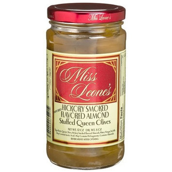 Miss Leone's Stuffed Queen Olives, Hickory Almond, 12-Ounce Jars (Pack of 3)