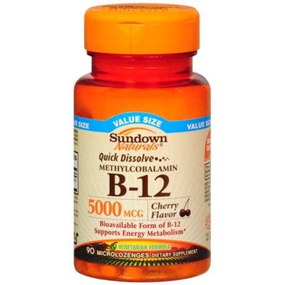 Sundown Naturals Quick Dissolve Vitamin B-12 5000mcg, Microlozenges, Cherry, 90 ea