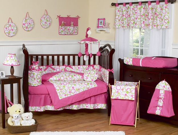 Sweet Jojo Designs Circles Pink Collection 9pc Crib Bedding Set