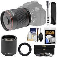 Vivitar 500mm f/8.0 Mirror Lens with 2x Teleconverter (=1000mm) + Monopod + 3 Filters Kit for Nikon Digital SLR Cameras