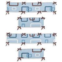 Sweet Jojo Designs Geo Crib Bumper in Blue/Brown