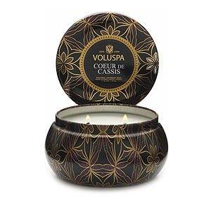 Voluspa 2 wick Candle in Printed Tin, Coeur De Cassis, 1 set