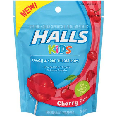 HALLS Kids Cherry Flavor Menthol Cough & Sore Throat Pops